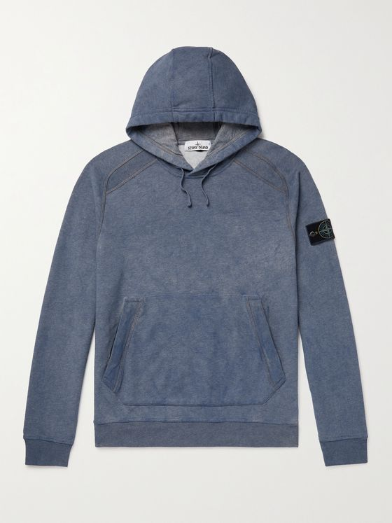 STONE ISLAND Logo-Appliquéd Mélange Loopback Cotton-Jersey Hoodie