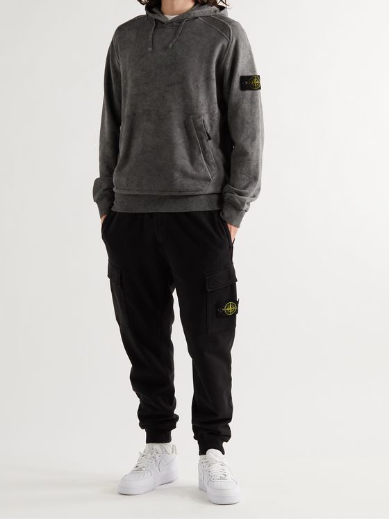 STONE ISLAND Tapered Logo-Appliquéd Garment-Dyed Fleece-Back Cotton-Jersey Sweatpants