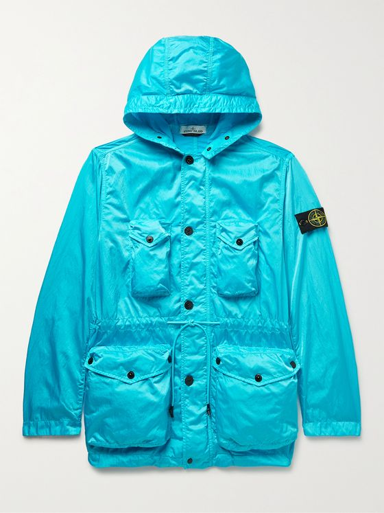 STONE ISLAND Raso Logo-Appliquéd Nylon-Shell Hooded Jacket