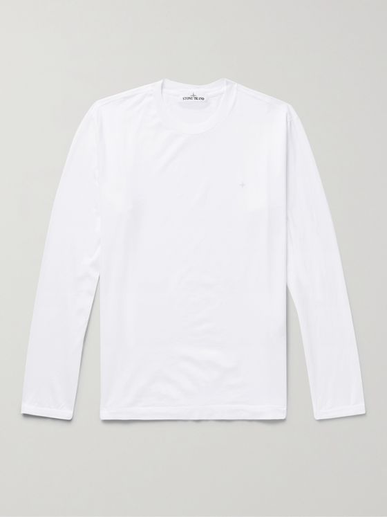 STONE ISLAND Logo-Embroidered Garment-Dyed Cotton-Jersey T-Shirt