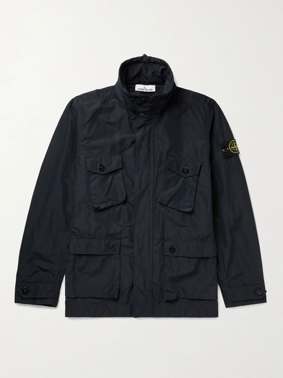 STONE ISLAND Logo-Appliquéd Micro Reps Shell Hooded Field Jacket