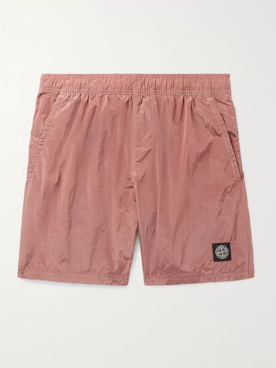STONE ISLAND Mid-Length Logo-Appliquéd Garment-Dyed Swim Shorts