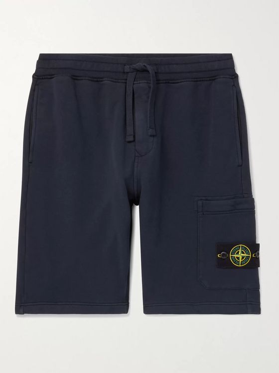 STONE ISLAND Logo-Appliquéd Garment-Dyed Loopback Cotton-Jersey Drawstring Cargo Shorts