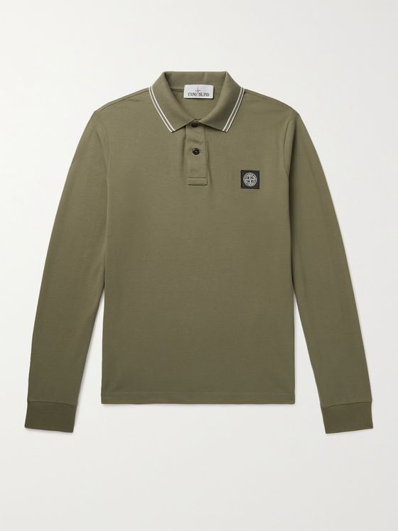 STONE ISLAND Slim-Fit Logo-Appliquéd Contrast-Tipped Stretch-Cotton Piqué Polo Shirt