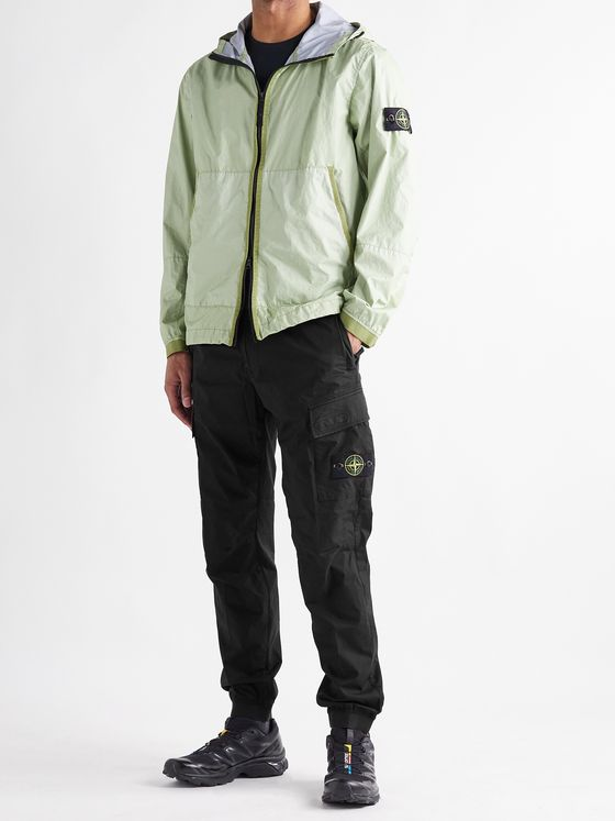 STONE ISLAND Tapered Logo-Appliquéd Stretch-Cotton Cargo Trousers