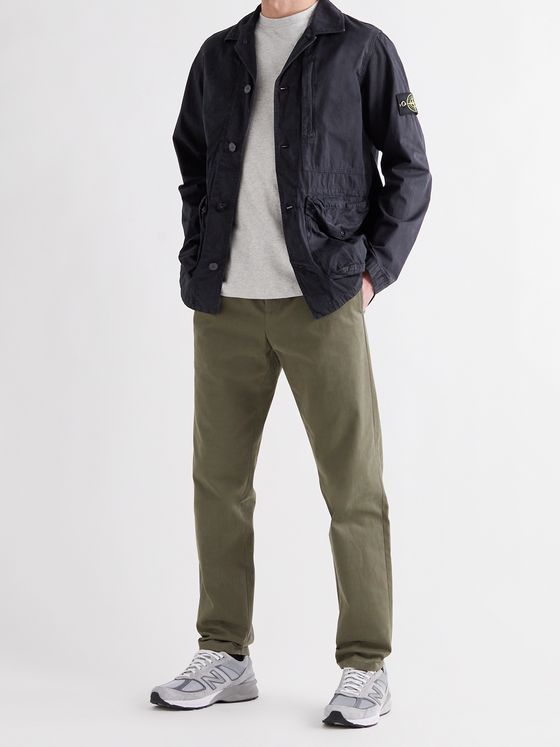 STONE ISLAND Tela Logo-Appliquéd Garment-Dyed Brushed Cotton-Canvas Jacket