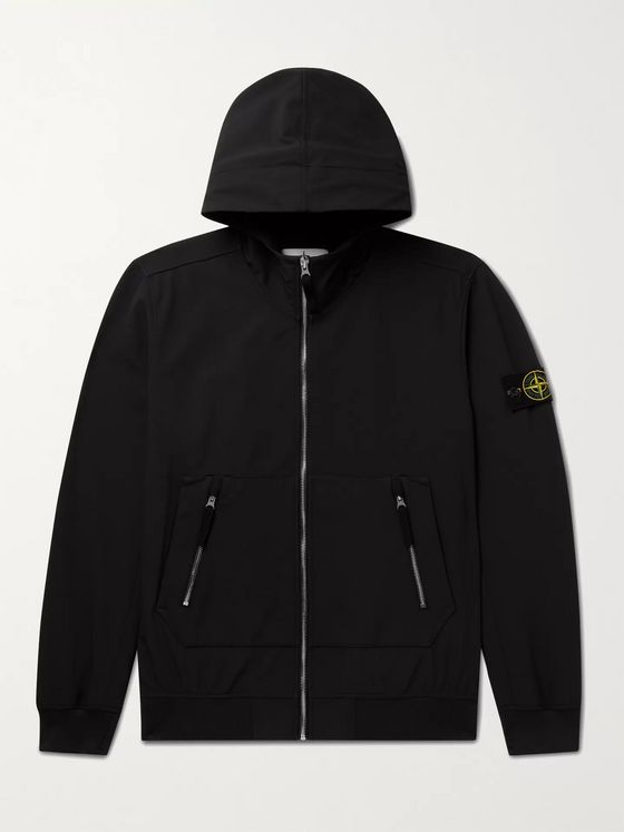 STONE ISLAND Logo-Appliquéd Coated Shell-R Hooded Jacket