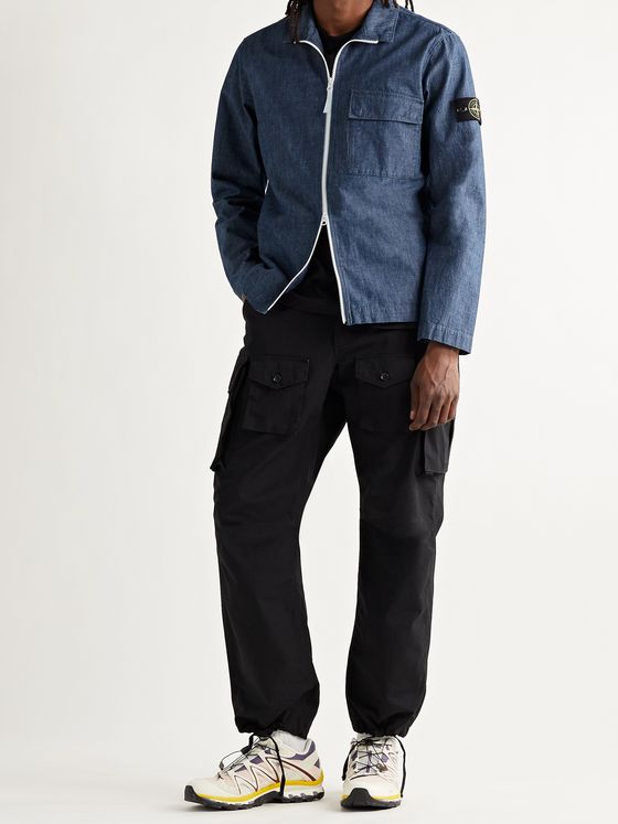 STONE ISLAND Logo-Appliquéd Cotton-Chambray Jacket