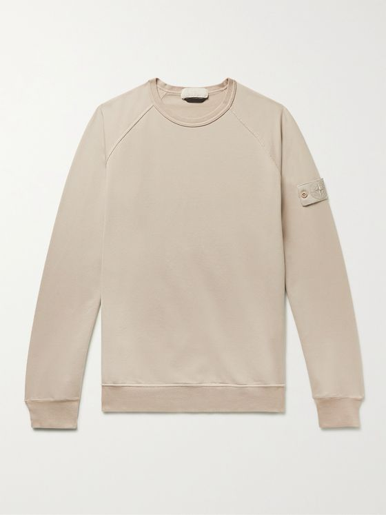 STONE ISLAND Ghost Logo-Appliquéd Loopback Cotton-Blend Jersey Sweatshirt