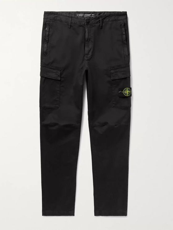 STONE ISLAND Slim-Fit Logo-Appliquéd Brushed Cotton-Blend Cargo Trousers