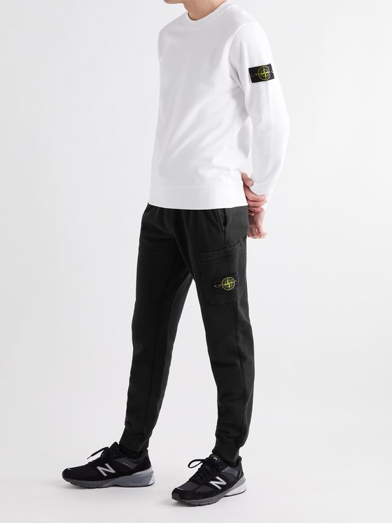 STONE ISLAND Tapered Slim-Fit Logo-Appliquéd Loopback Cotton-Jersey Cargo Sweatpants