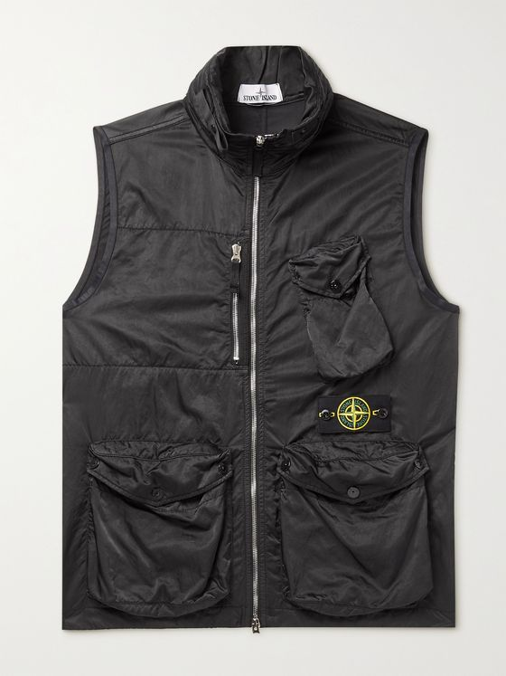 STONE ISLAND Hooded Satin-Shell Gilet