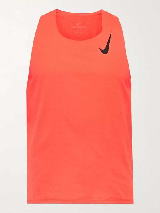 Nike Running Aeroswift Logo-Print Perforated Dri-FIT Tank Top