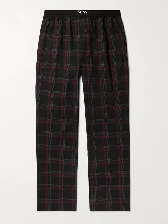 HUGO BOSS Urban Checked Cotton-Poplin Pyjama Trousers