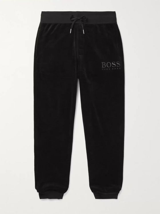 HUGO BOSS Tapered Logo-Embroidered Cotton-Blend Velour Track Pants