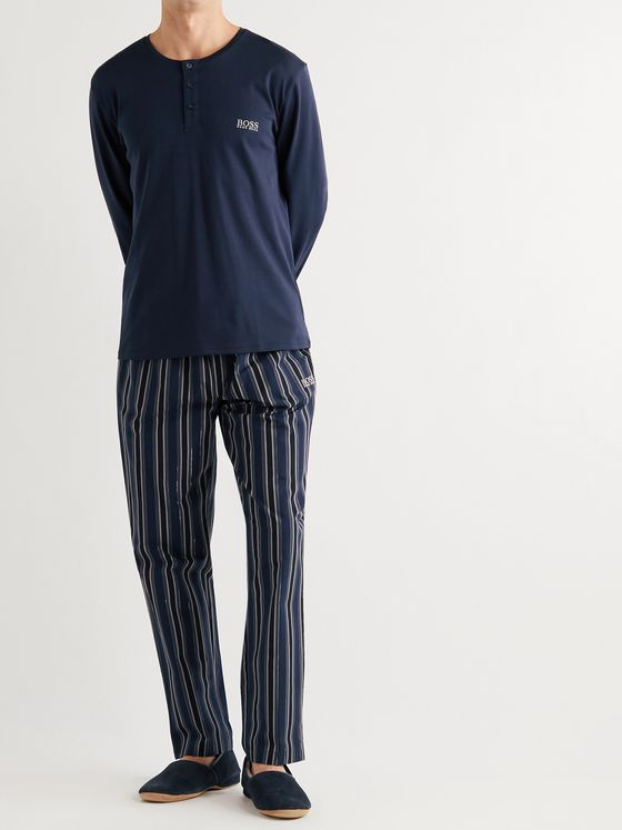 HUGO BOSS Logo-Embroidered Striped Cotton Pyjama Set