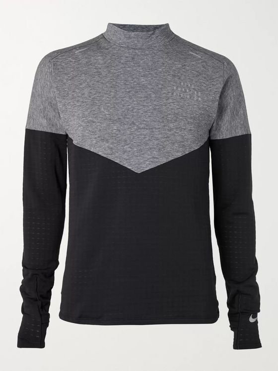 Nike Running Run Therma Sphere Panelled Stretch-Jersey and Fleece Top