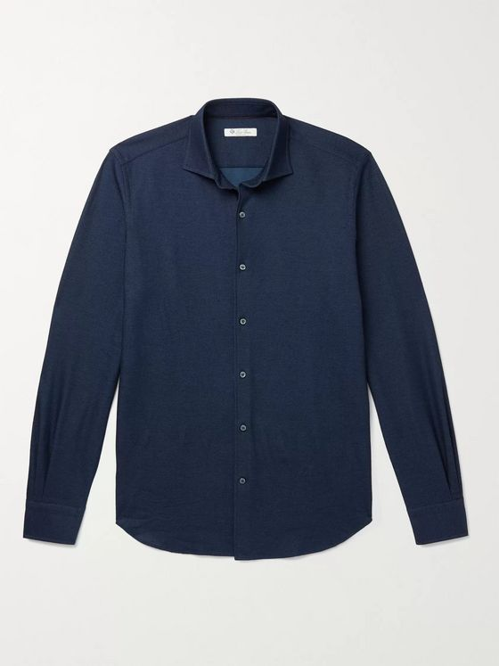 LORO PIANA Slim-Fit Cutaway Collar Cotton-Piqué Shirt