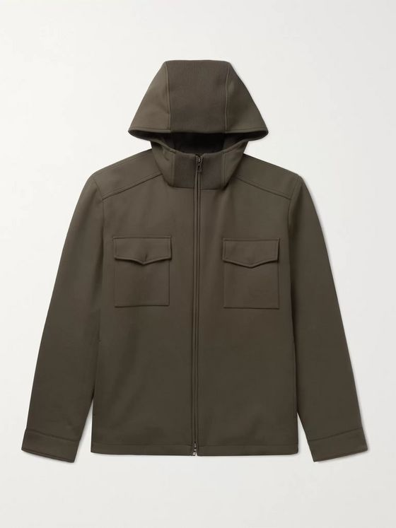 LORO PIANA Holburn Rain System Stretch-Wool Hooded Jacket