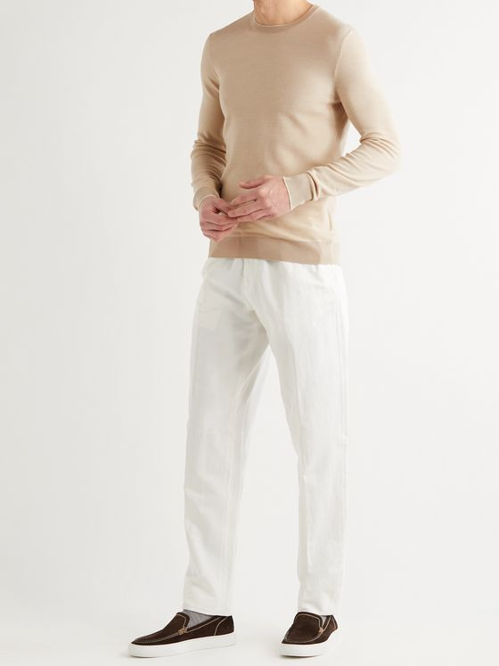 Loro Piana Contrast-Tipped Wool and Cashmere-Blend Piqué Sweater