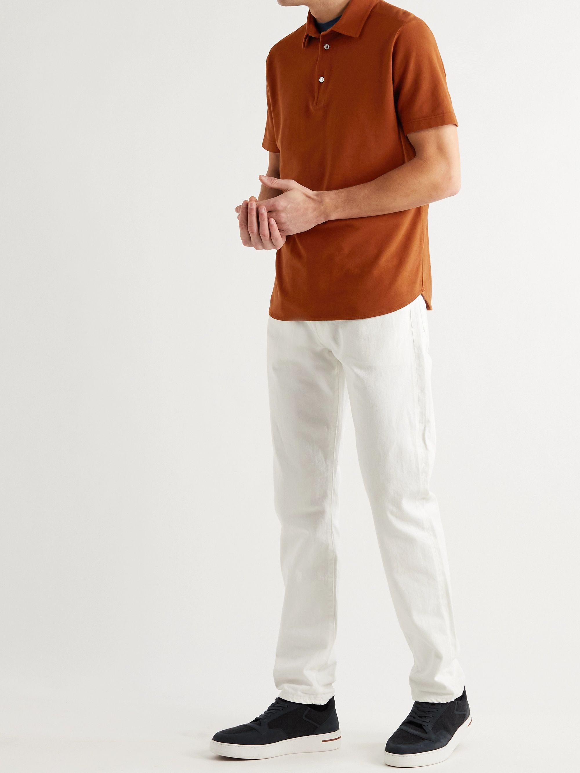 LORO PIANA Cotton-Piqué Polo Shirt