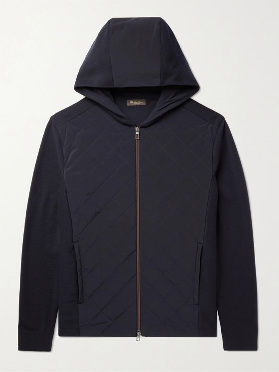 LORO PIANA Wool and Suede-Panelled Quilted Shell Hooded Jacket