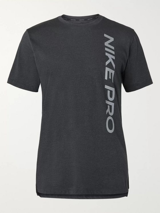 NIKE TRAINING Printed Cotton-Blend Mesh and Jersey T-Shirt