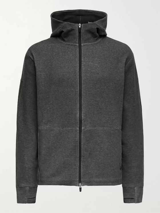 NIKE TRAINING Melangé Dri-FIT Organic Cotton-Blend Jersey Zip-Up Hoodie