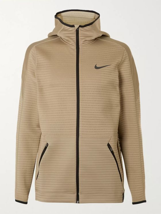 Nike Training Panelled Textured Stretch-Jersey Zip-Up Hoodie