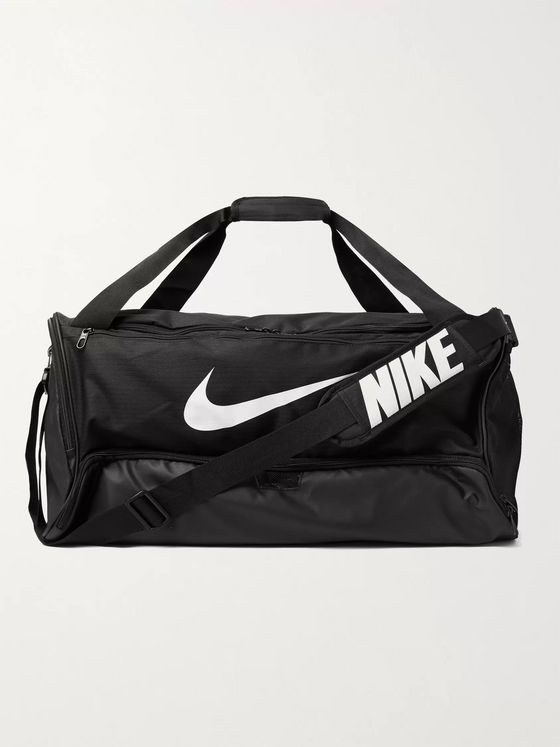 Nike Training Brasilia Medium Logo-Print Canvas and Coated-Shell Duffle Bag