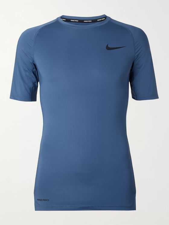 Nike Training Mesh-Panelled Logo-Print Dri-FIT Compression T-Shirt