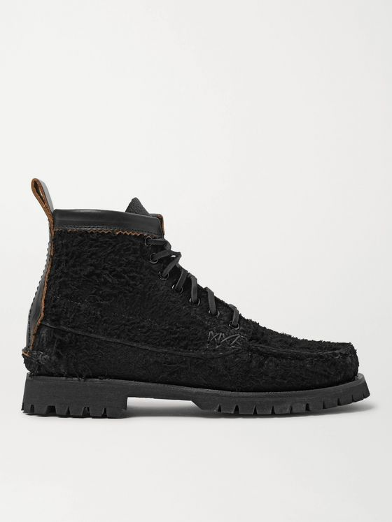 YUKETEN Angler Leather-Trimmed Textured-Suede Boots