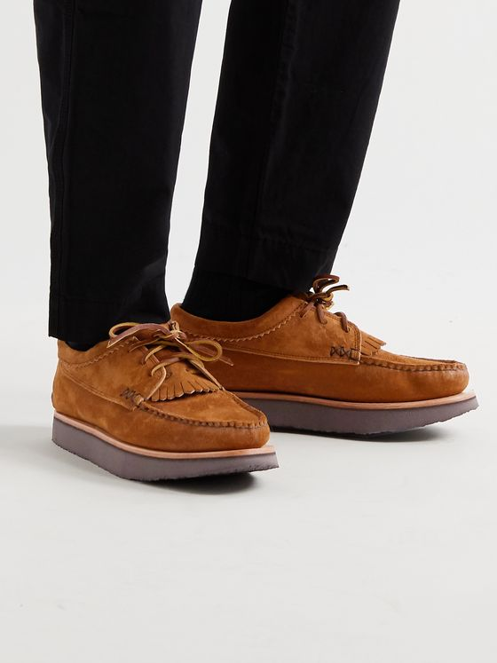 YUKETEN Blucher Rocker Textured-Leather Derby Shoes