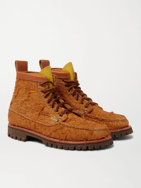 Yuketen Angler Leather-Trimmed Brushed-Suede Boots
