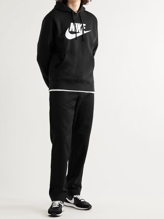 NIKE Logo-Print Fleece-Back Cotton-Blend Jersey Hoodie
