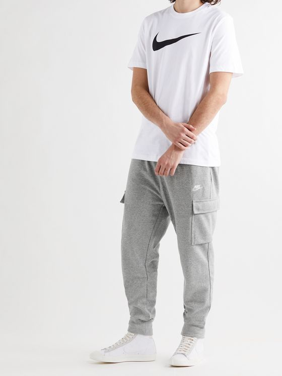 NIKE Tapered Logo-Embroidered Mélange Cotton-Blend Jersey Sweatpants