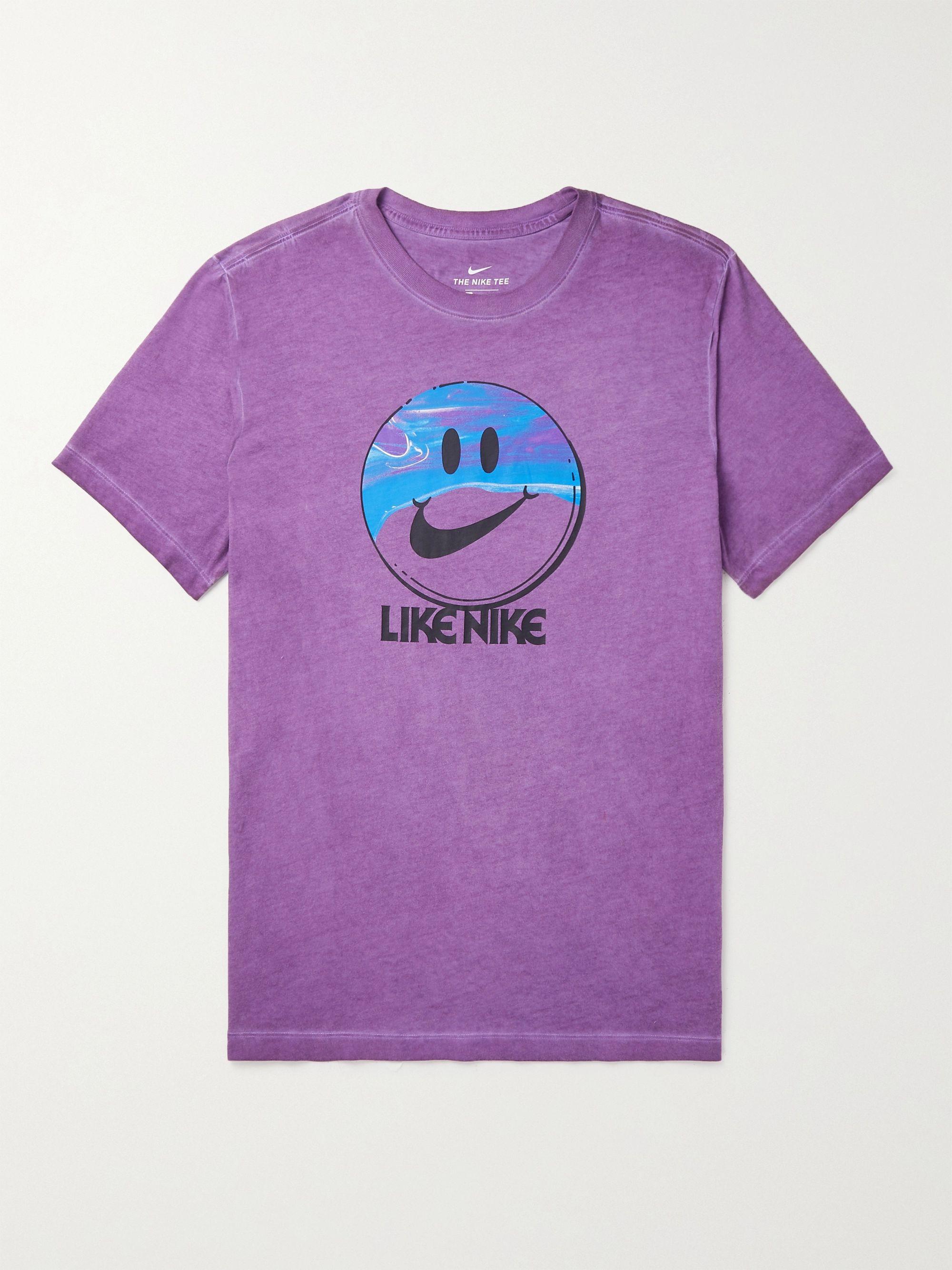 NIKE NSW Printed Melange Cotton-Jersey T-Shirt