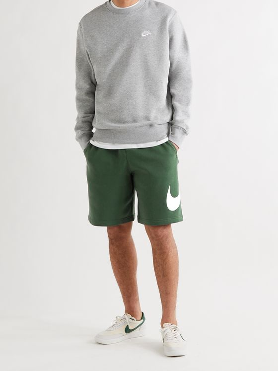 NIKE Sportswear Club Wide-Leg Logo-Print Cotton-Blend Jersey Drawstring Shorts