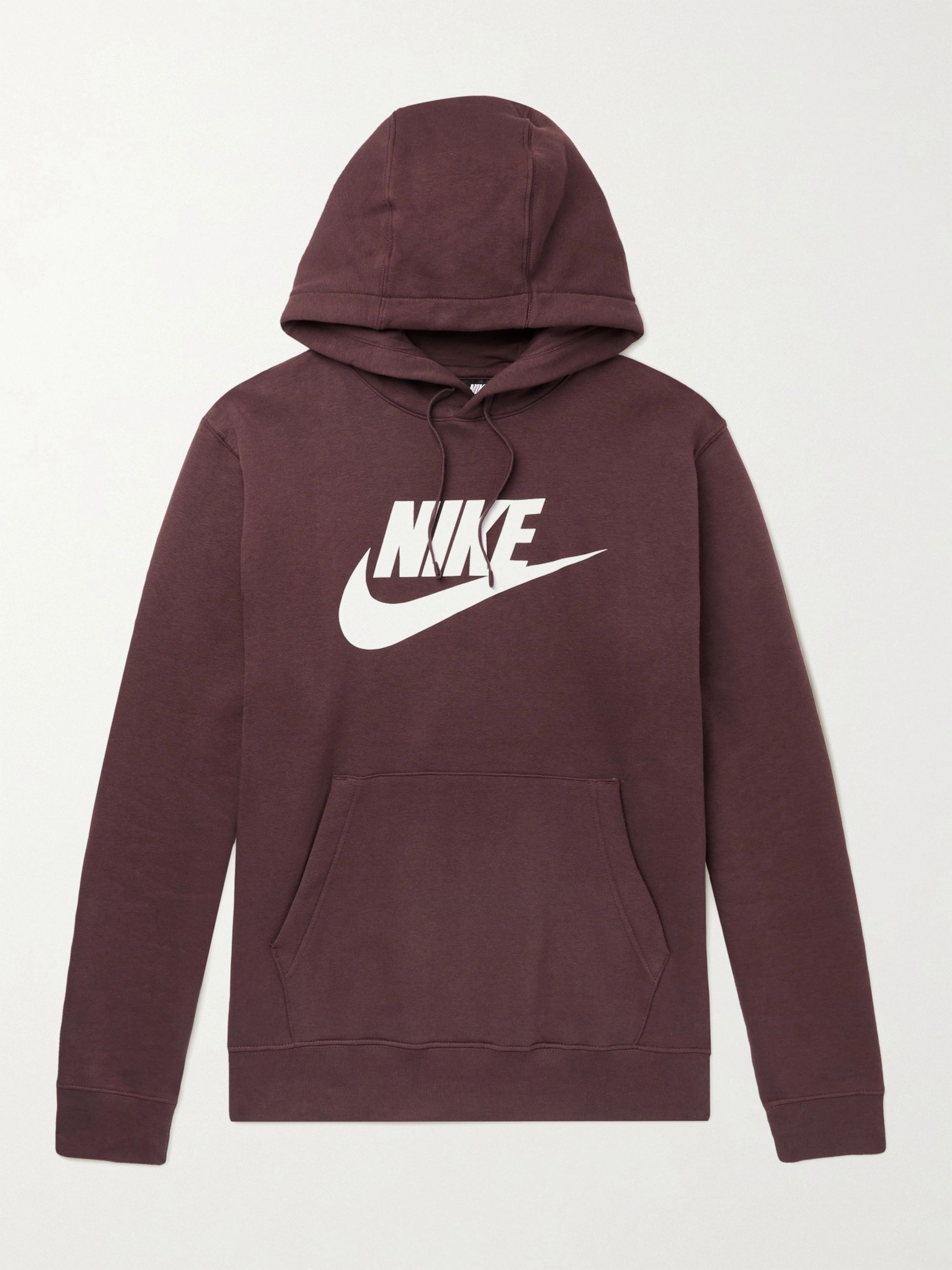 NIKE Sportswear Club Logo-Print Fleece-Back Cotton-Blend Jersey Hoodie