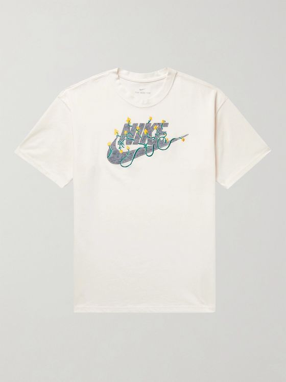 NIKE Sportswear Logo-Appliquéd Embroidered Cotton-Blend Jersey T-Shirt