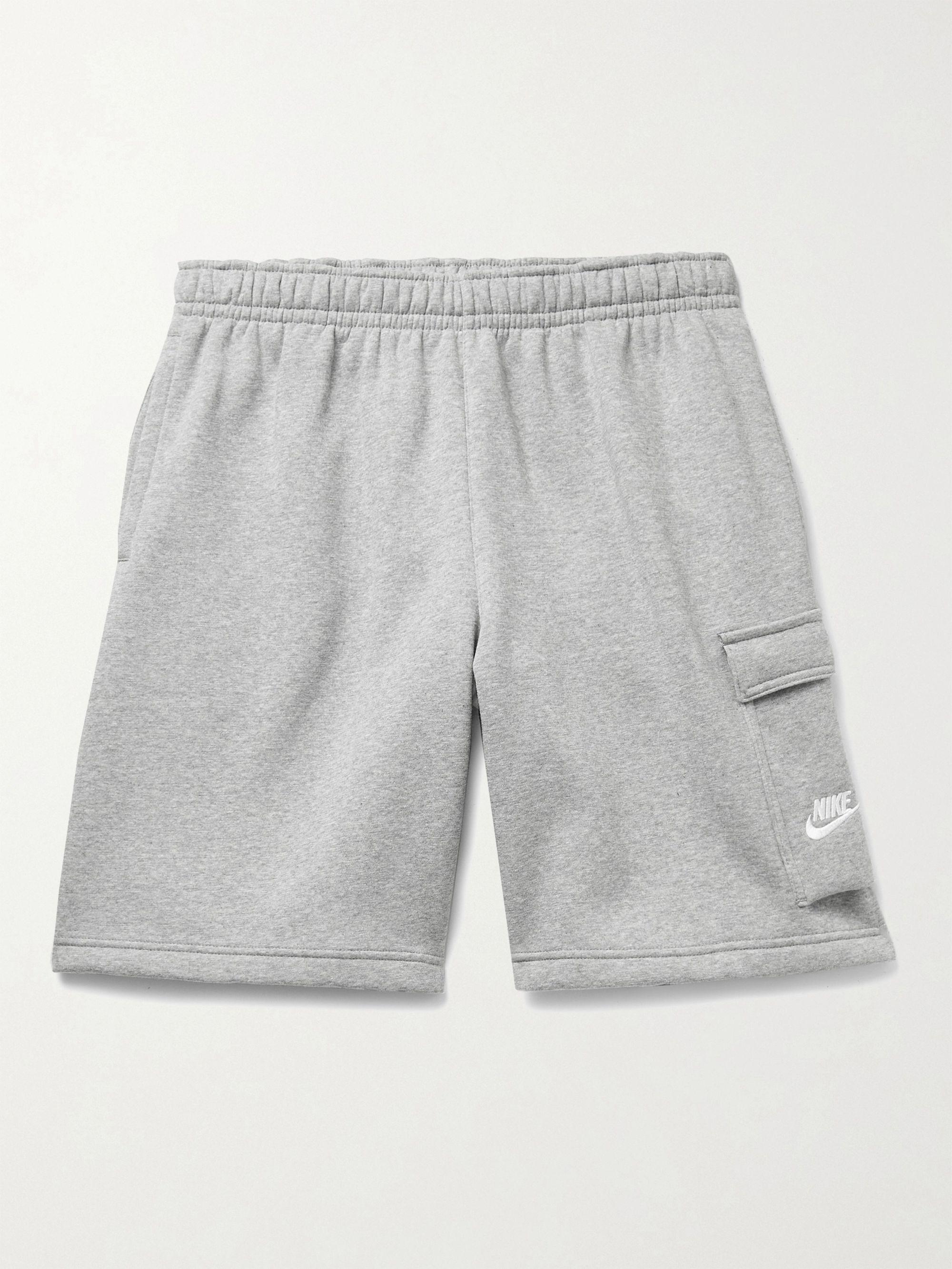 NIKE Sportswear Club Wide-Leg Fleece-Back Cotton-Blend Jersey Cargo Shorts