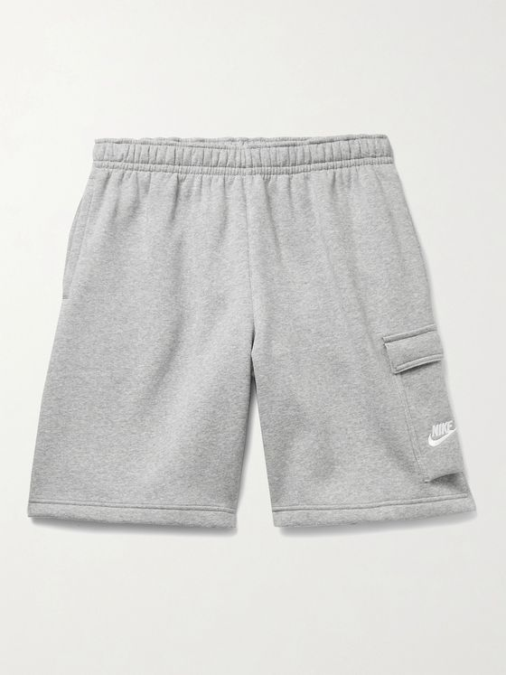 NIKE Sportswear Club Wide-Leg Fleece-Back Cotton-Blend Jersey Cargo Shorts