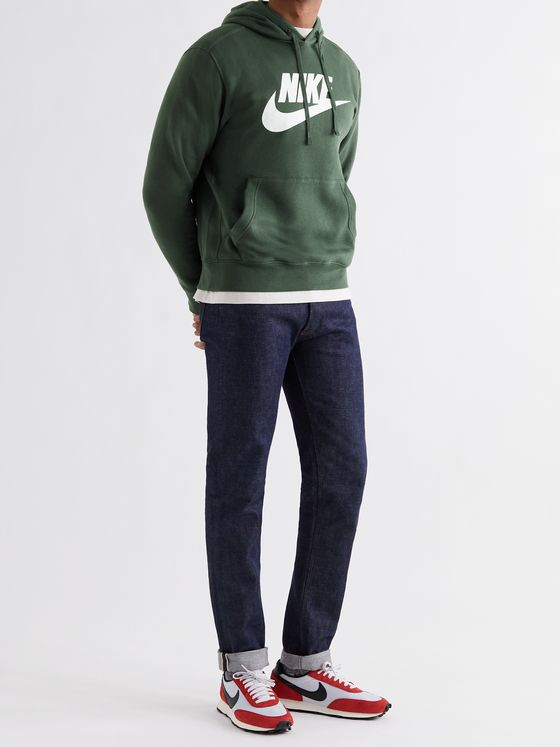NIKE Sportswear Club Logo-Print Fleece-Back Cotton-Blend Jersey Hoodie