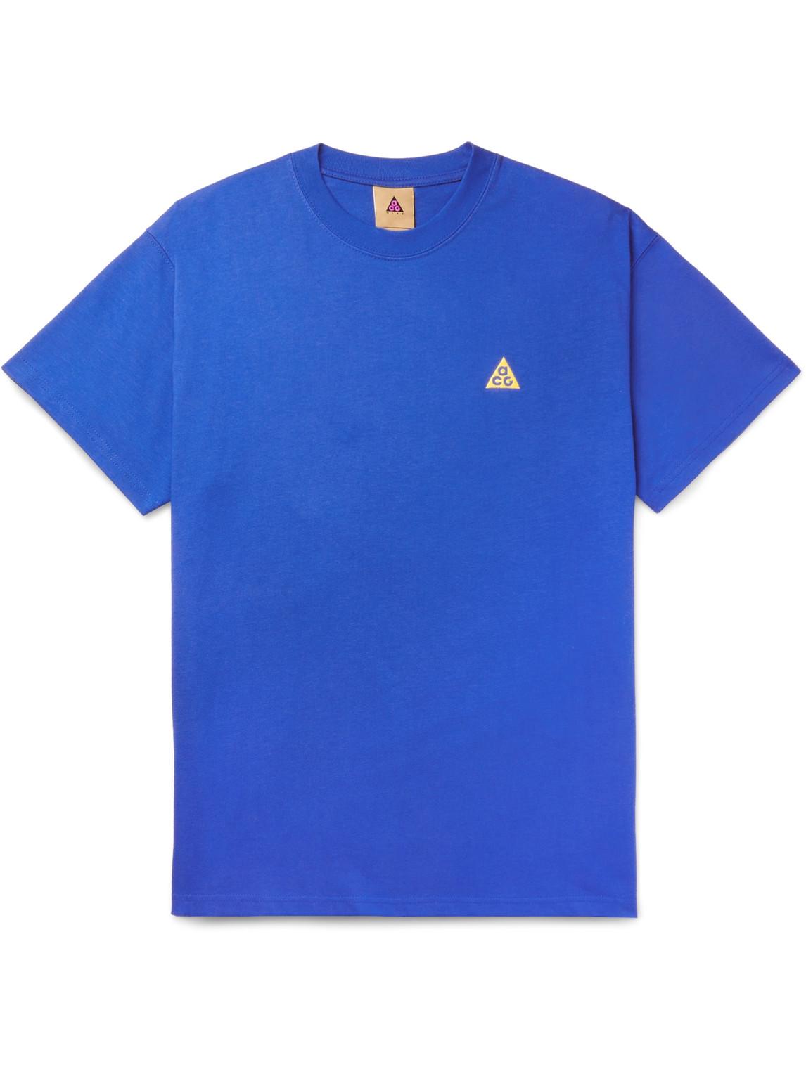 Nike - Acg Nrg Logo-Embroidered Cotton-Jersey T-Shirt - Men - Blue - M