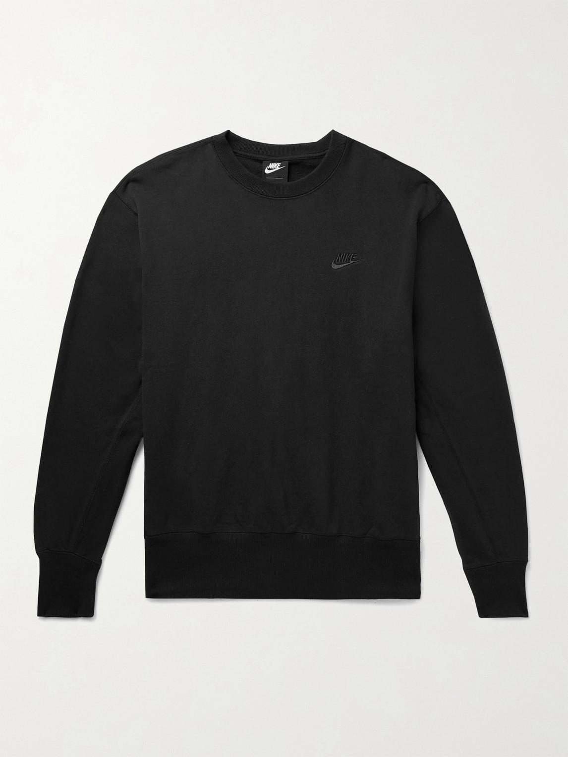 Nike SPORTSWEAR LOGO-EMBROIDERED FLEECE-BACK COTTON-JERSEY SWEATSHIRT