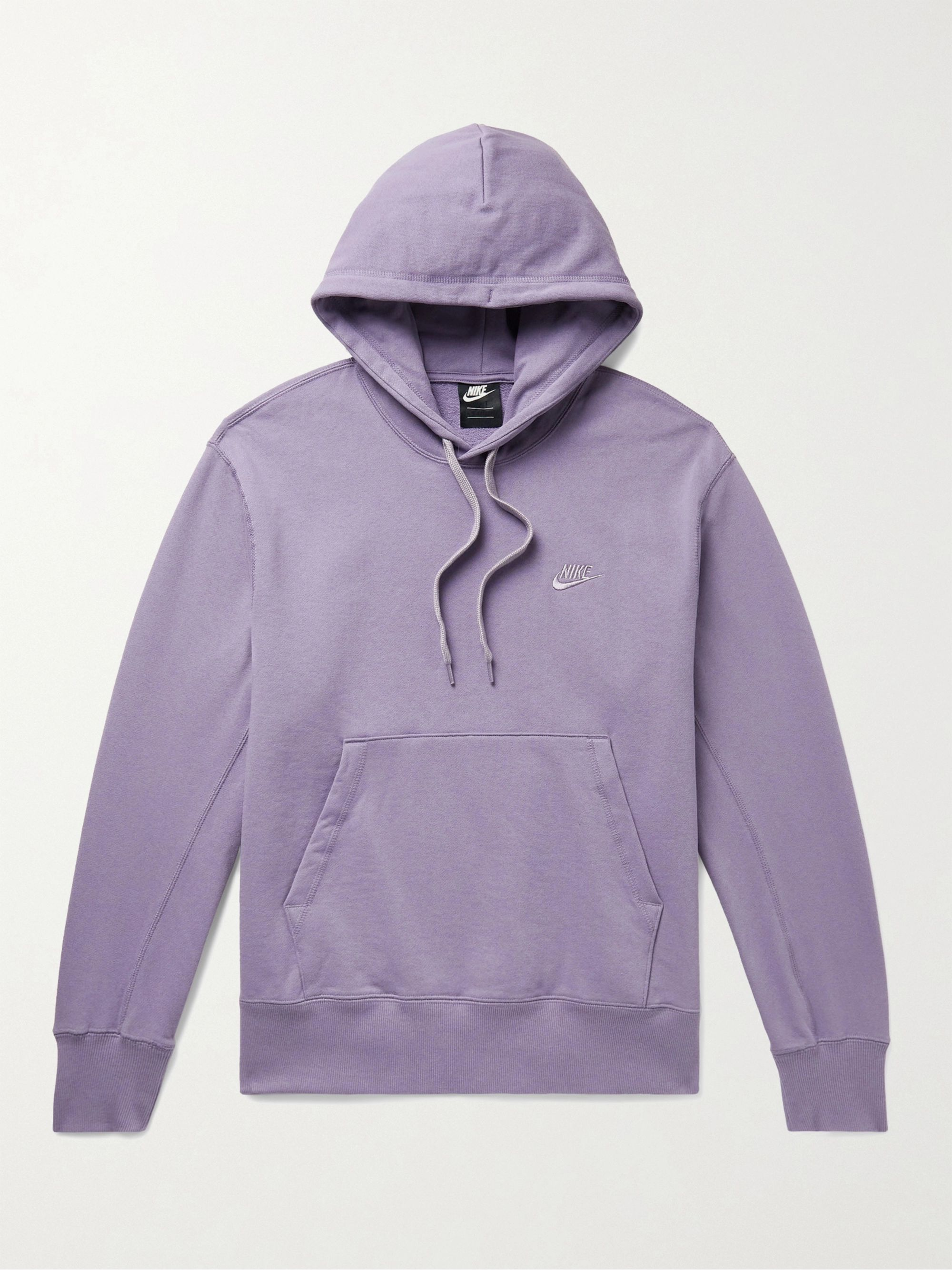 NIKE Logo-Embroidered Loopback Cotton-Jersey Hoodie