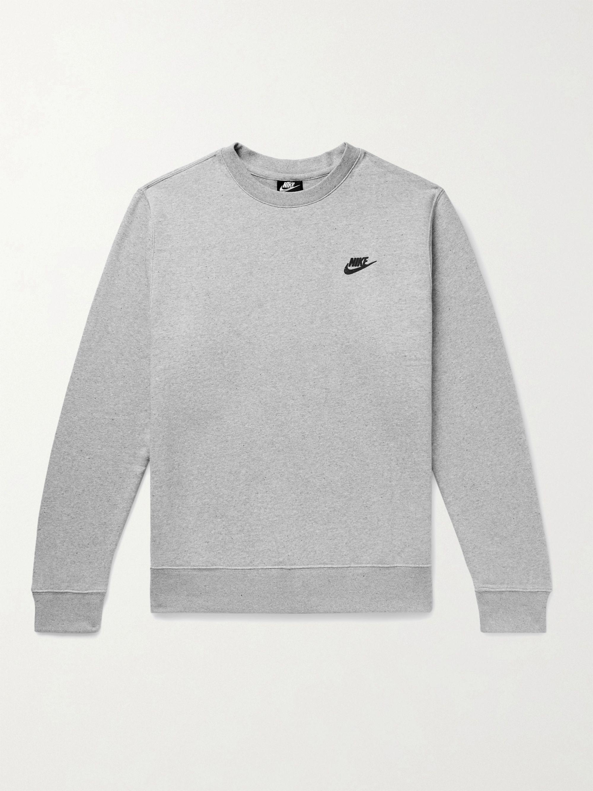 NIKE Sportswear Logo-Appliqued Melange Fleece-Back Cotton-Blend Jersey Sweatshirt