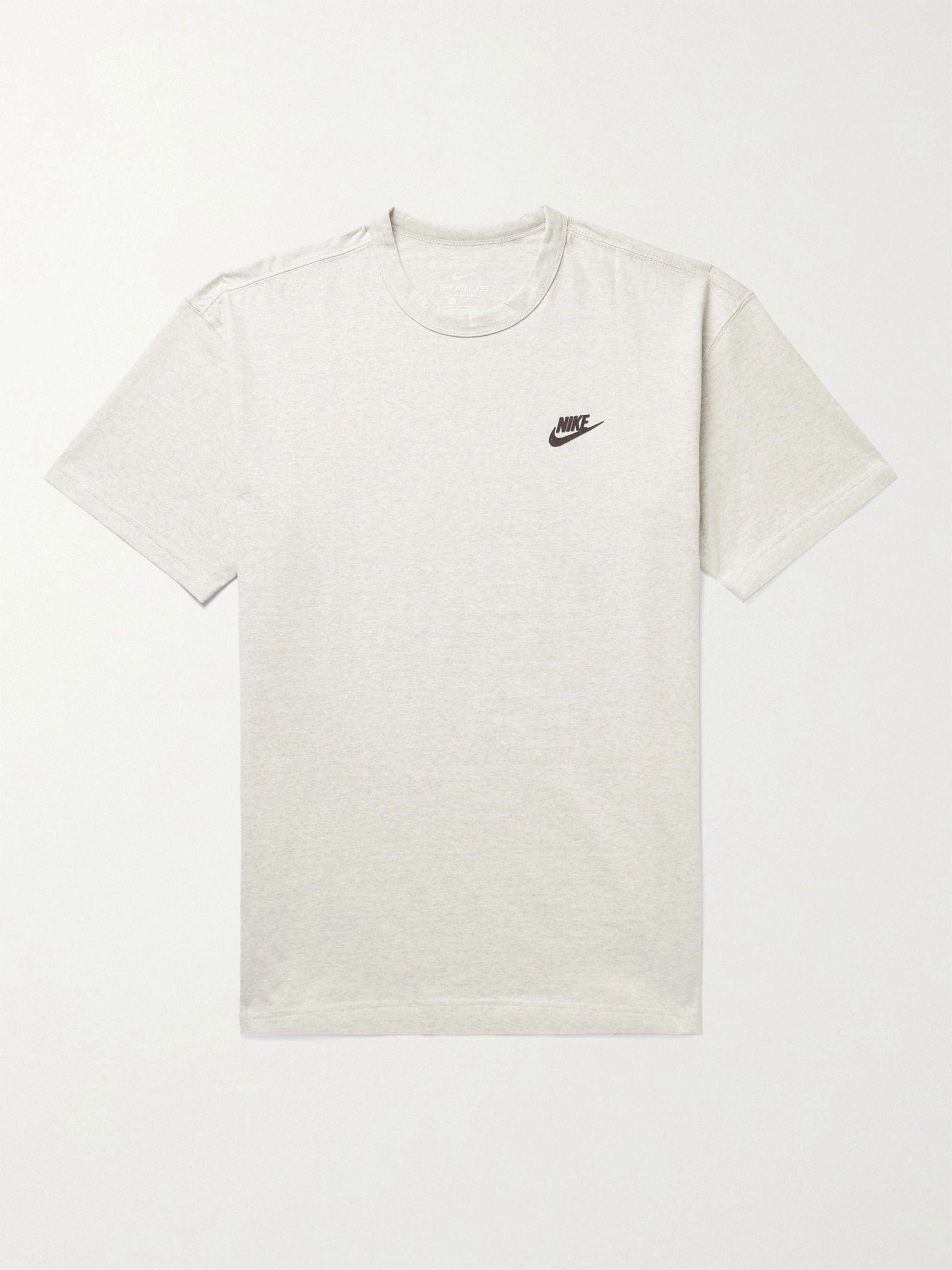 NIKE Sportswear Logo-Appliqued Melange Cotton-Blend Jersey T-Shirt