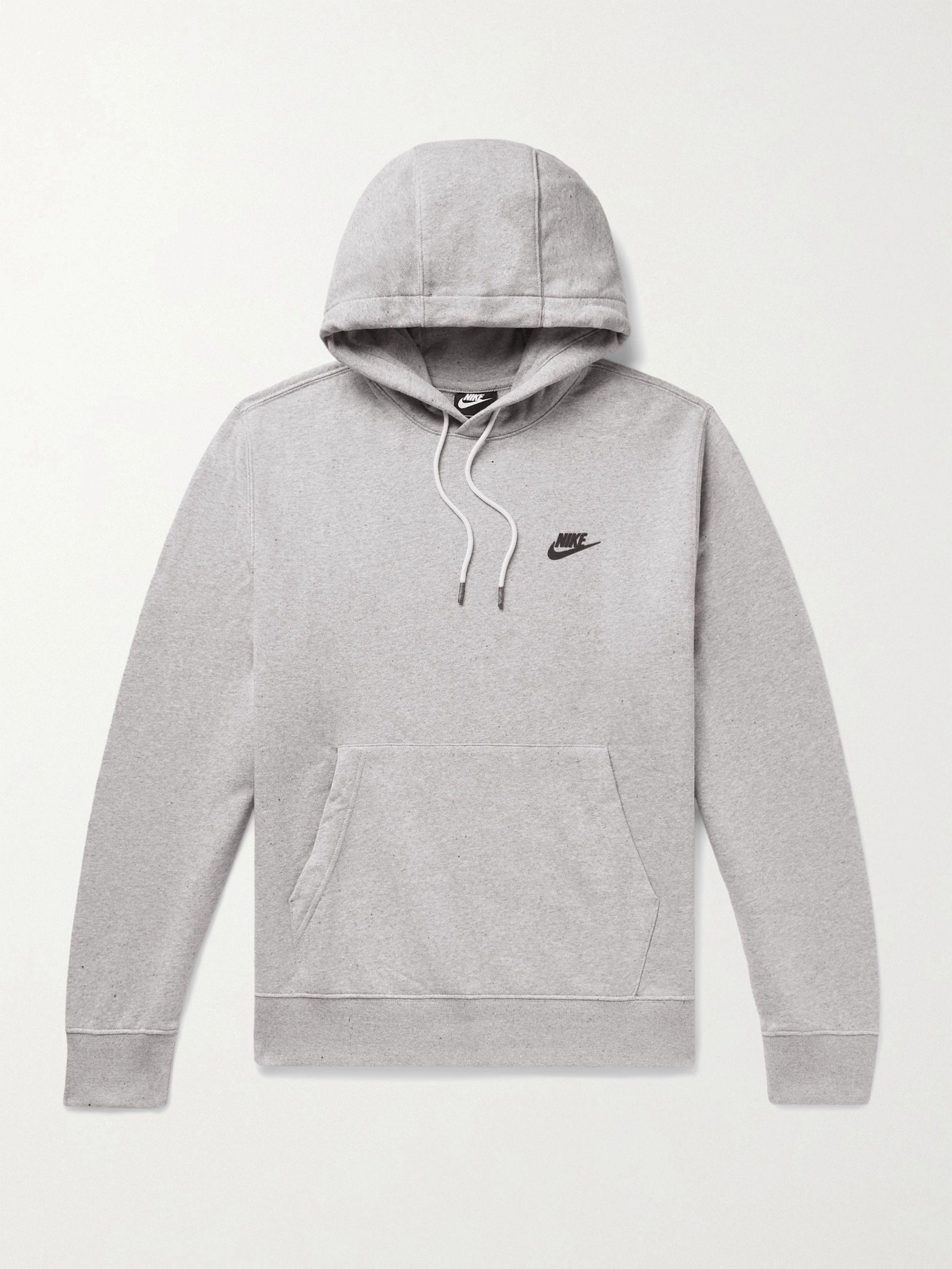 NIKE Sportswear Logo-Appliqued Melange Fleece-Back Cotton-Blend Jersey Hoodie