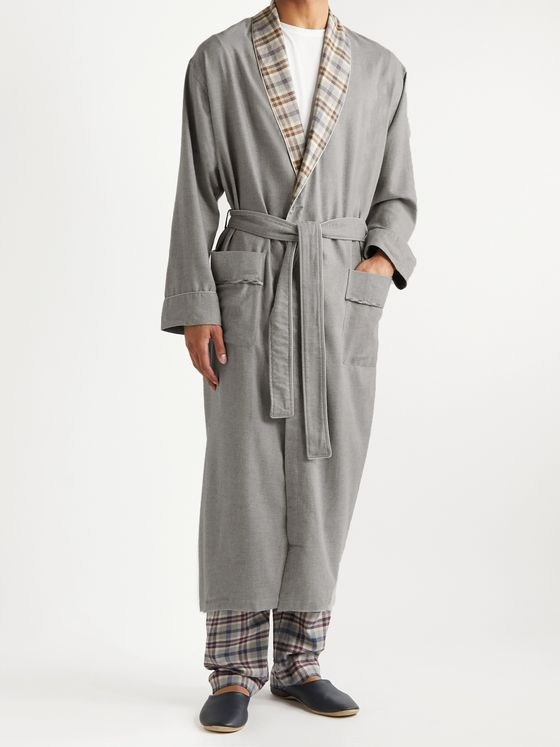 ZIMMERLI Heritage Cotton and Wool-Blend Flannel Robe